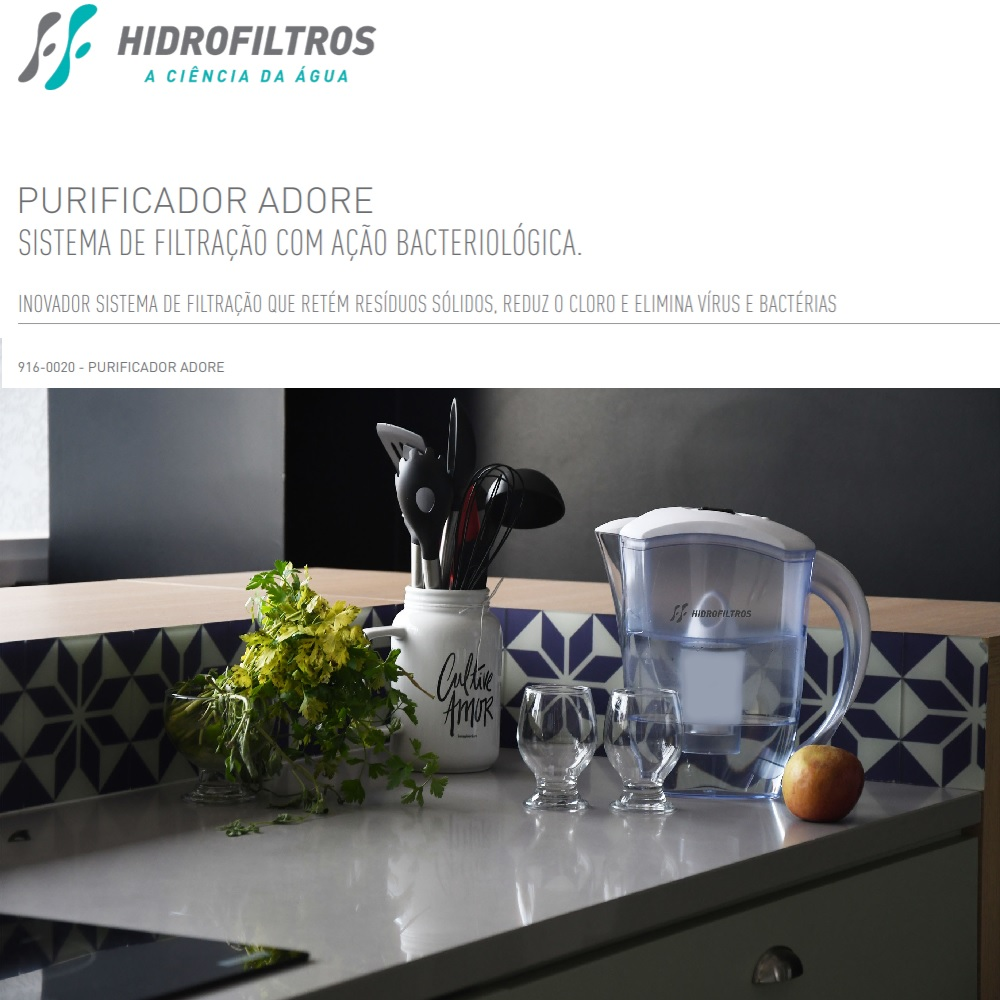 Purificador de Agua Adore Jarra Portatil Hidrofiltros 9160020
