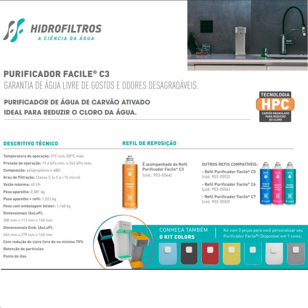 Purificador Facile C3 Cinza Hidrofiltros 9162501