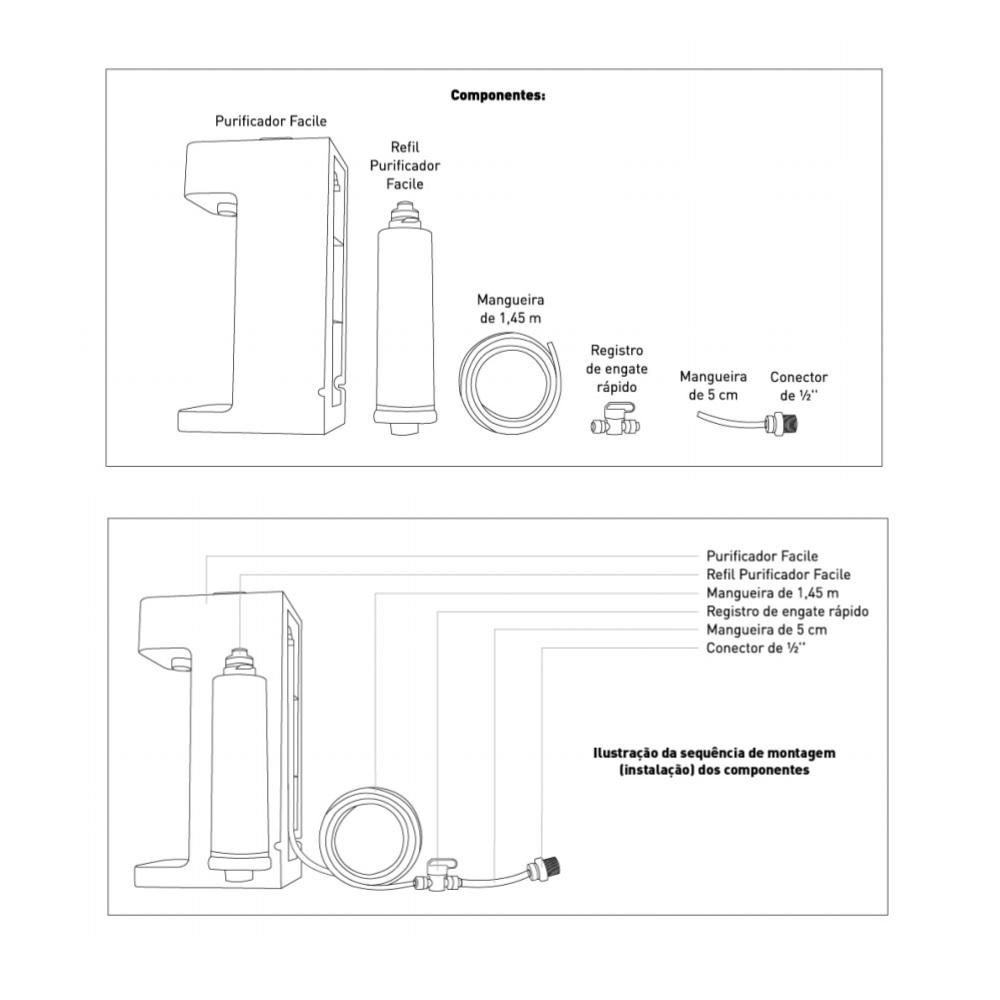 Purificador Facile C3 Preto Hidrofiltros 9162511