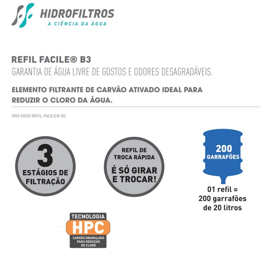 Refil Facile B3 para Purificador Economy Fit Hidrofiltros 9030535