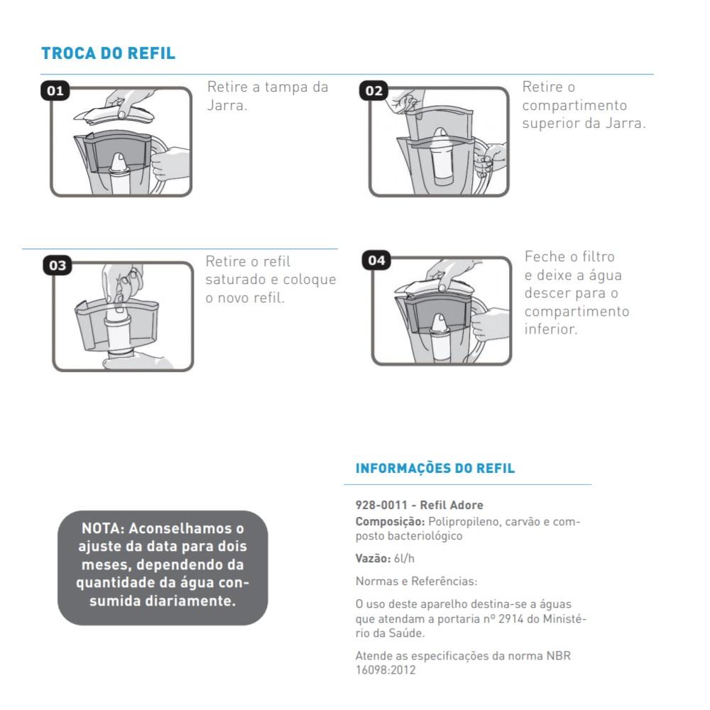 Refil para Purificador Adore Jarra Hidrofiltros 9280011