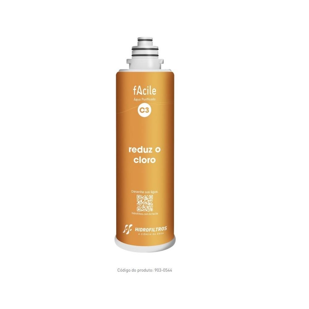 Refil Purificador de Agua Facile C3 Reducao do Cloro Hidrofiltros 9030544