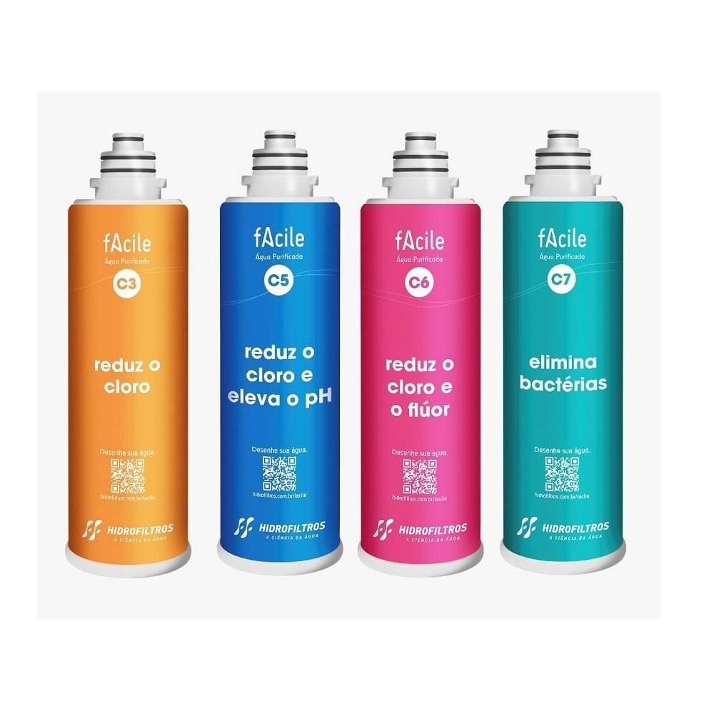 Refil Purificador de Agua Facile C7 Elimina Bacterias Hidrofiltros 9030550