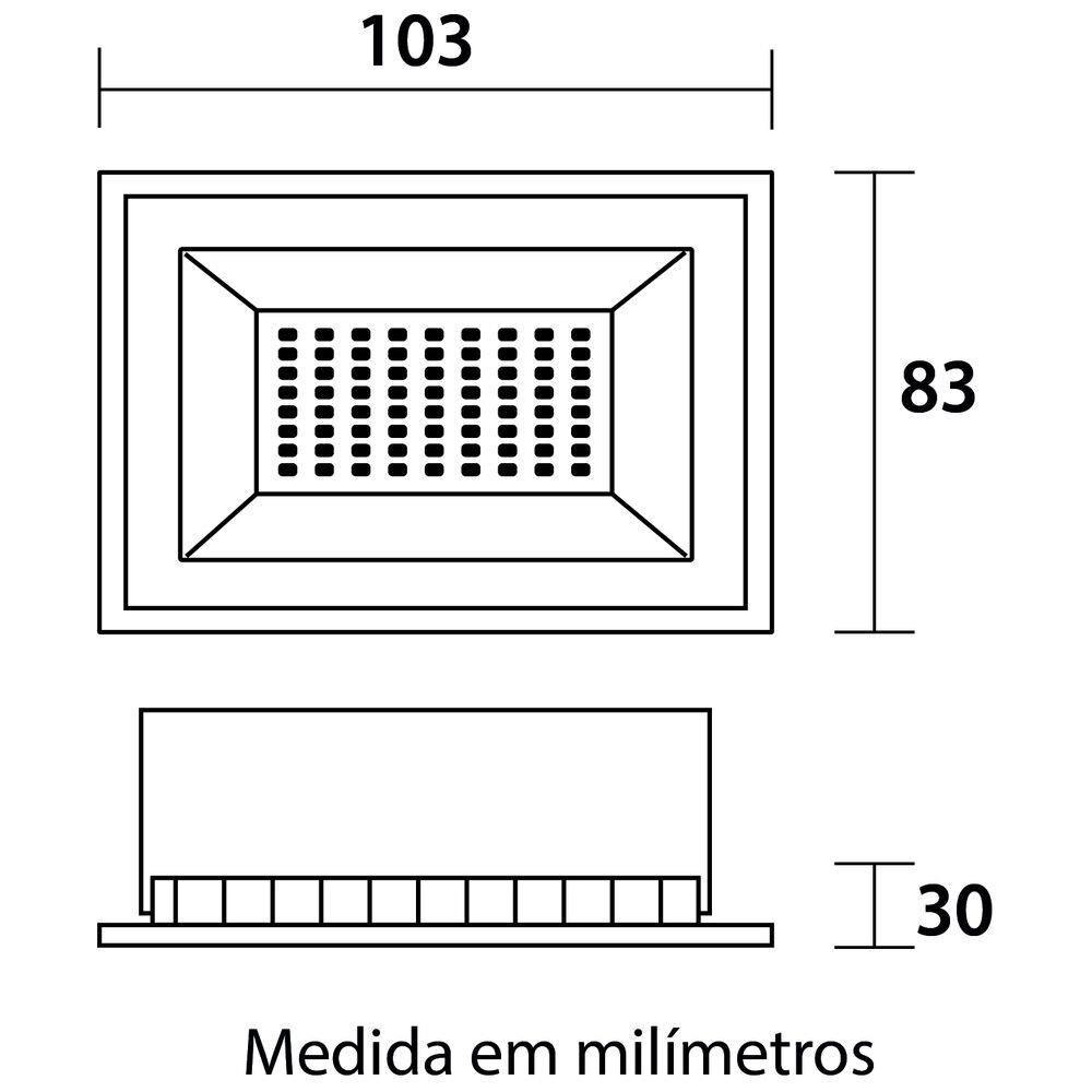 Refletor de LED Tech 10W 3000K Preto Blumenau 76103000