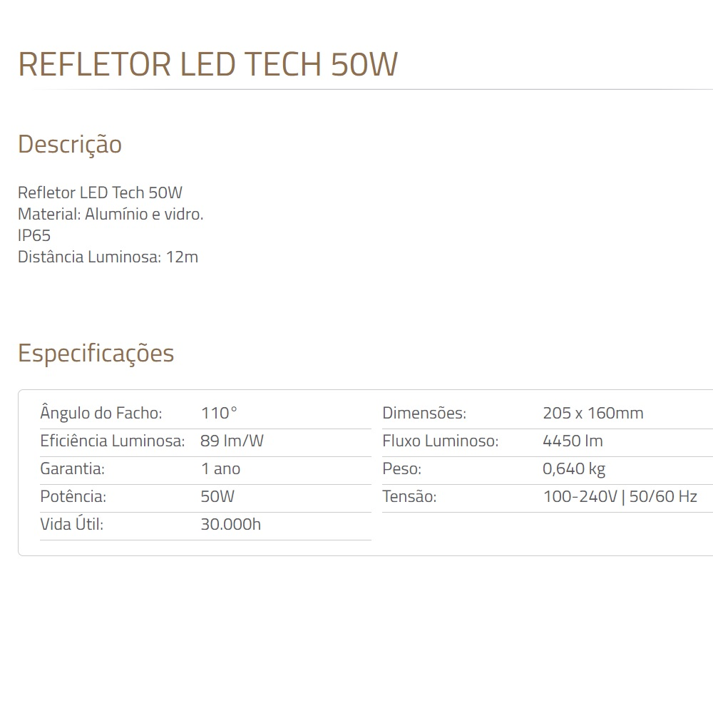 Refletor de LED Tech 50W 3000K Preto Blumenau 76100300