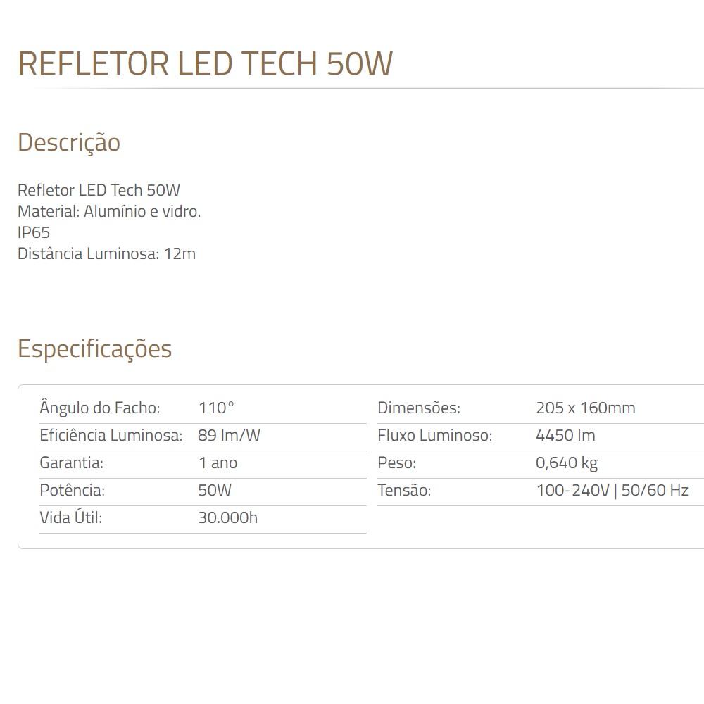 Refletor de LED Tech 50W 6500K Preto Blumenau 7650600