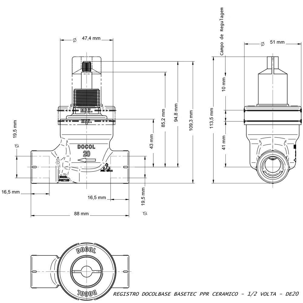 Registro BaseTec PPR Ceramico 1/2 volta 25 mm Docol 00524500