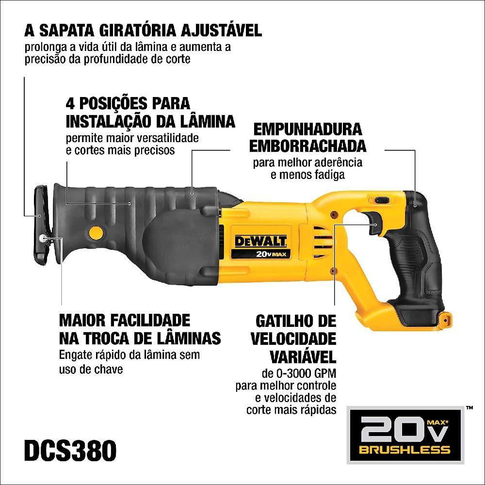 Serra Sabre 20V Velocidade Variavel Sem Bateria Dewalt DCS380B