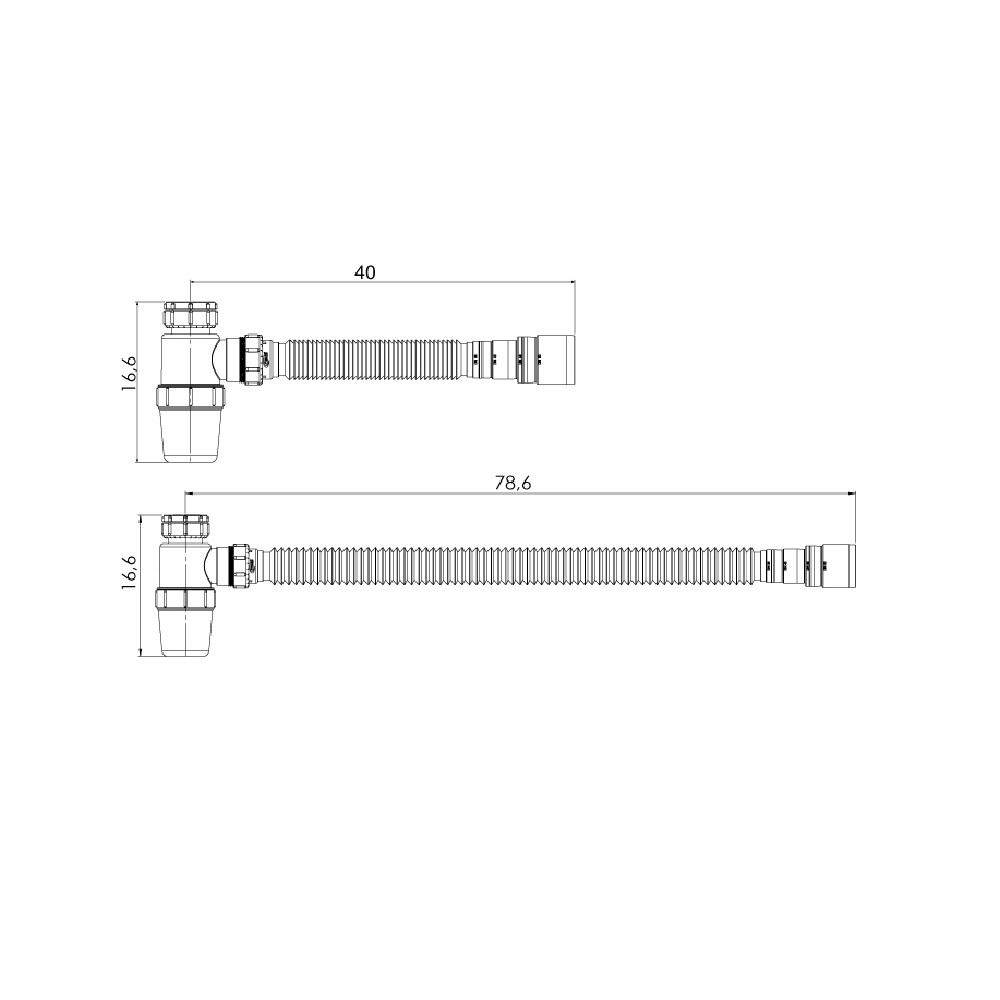 Sifao Tubo Extensivel com Copo Horizontal Sifonado Censi 7175