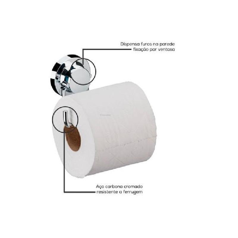 Suporte para Papel Higienico com Ventosa Cromado Future 4055