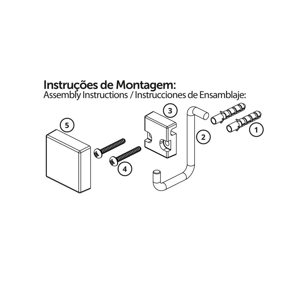 Toalheiro Argola 18cm Preto Future 8507PT