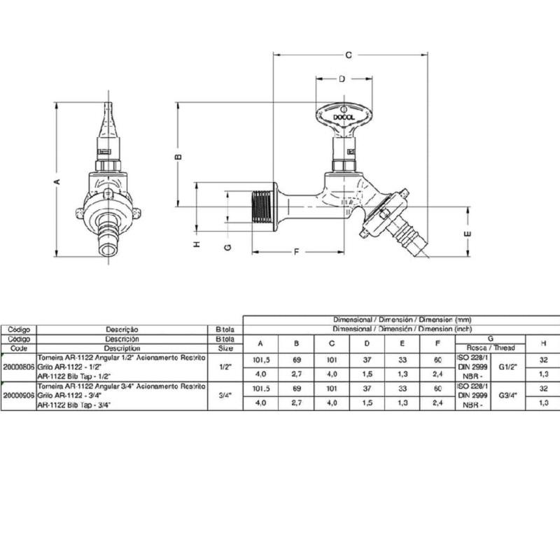 Torneira Angular de Acionamento Restrito Docol 20000806