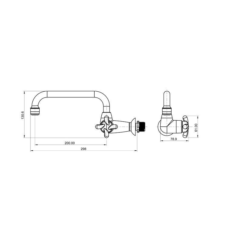 Torneira Plastica para Cozinha de Parede Bica Movel Lorenzetti 1164 F34