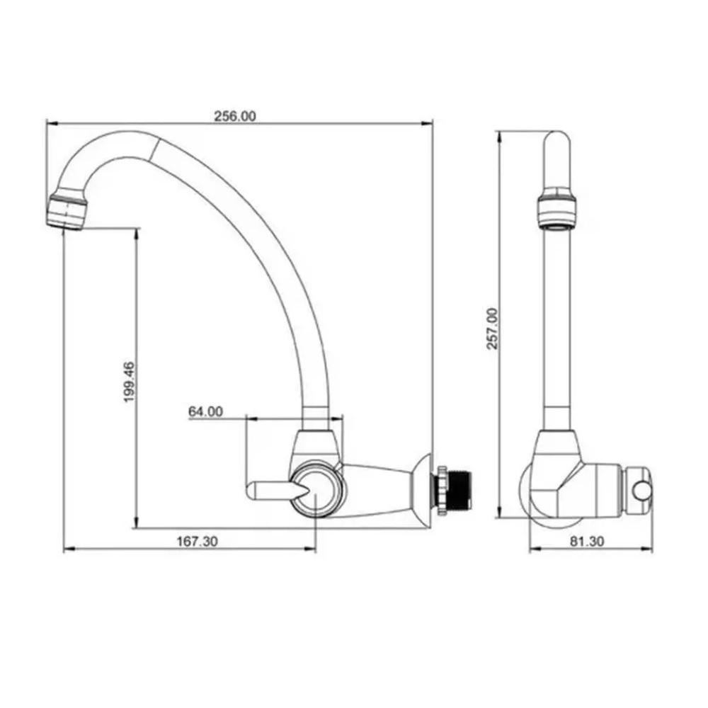 Torneira Plastica para Cozinha de Parede Bica Movel Lorenzetti 1168 F31