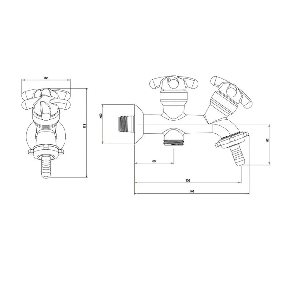 Torneira Tanque Saida para Maquina de Lavar Lorenzetti 1131 F34