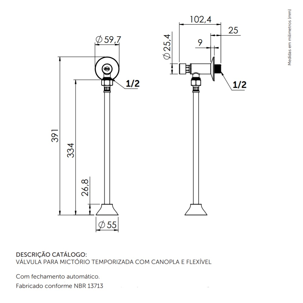 Valvula para Mictorio com Canopla e Flexivel 30cm Blukit 330702