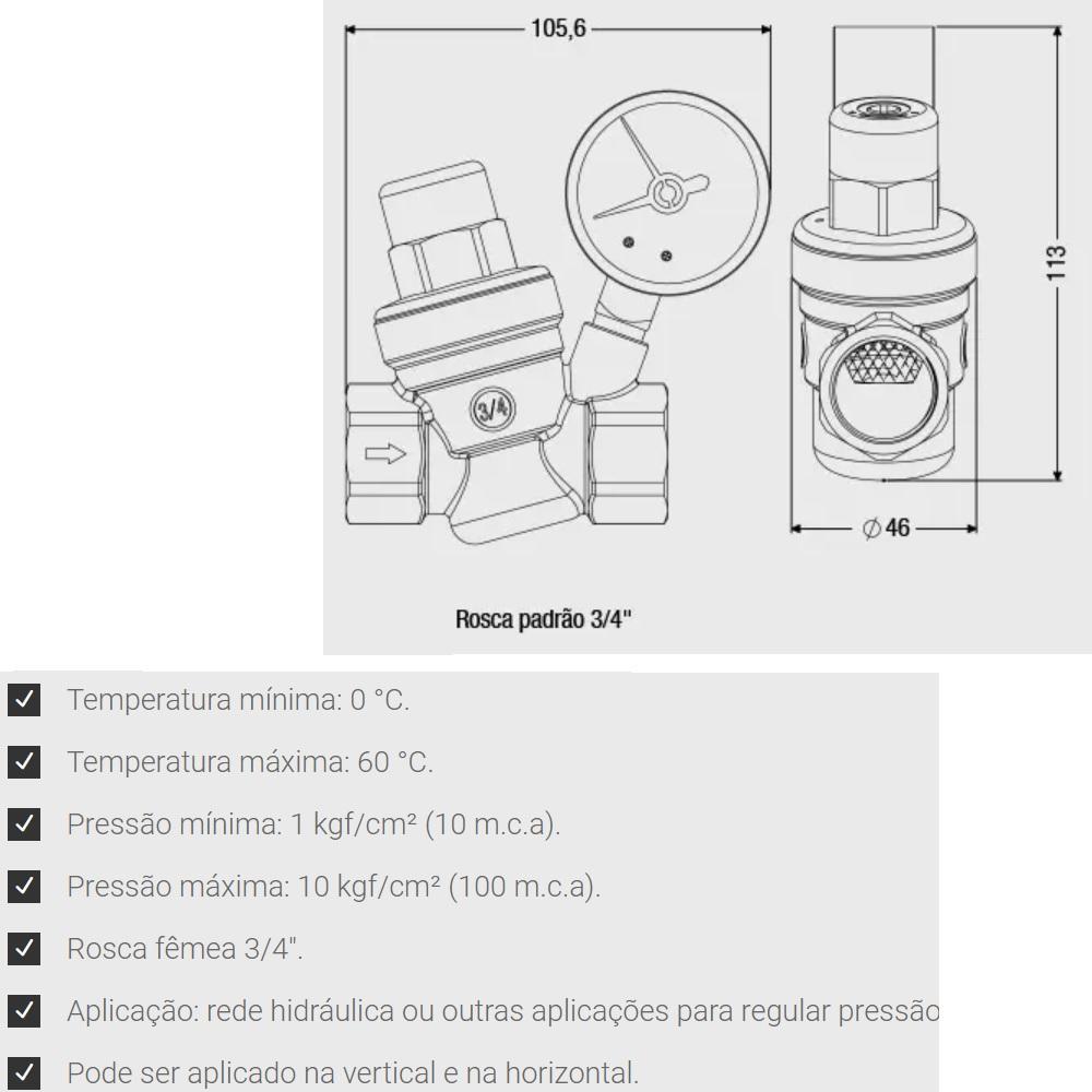 Valvula Reguladora de Pressao com Manometro Integrado 3/4 Censi 9666