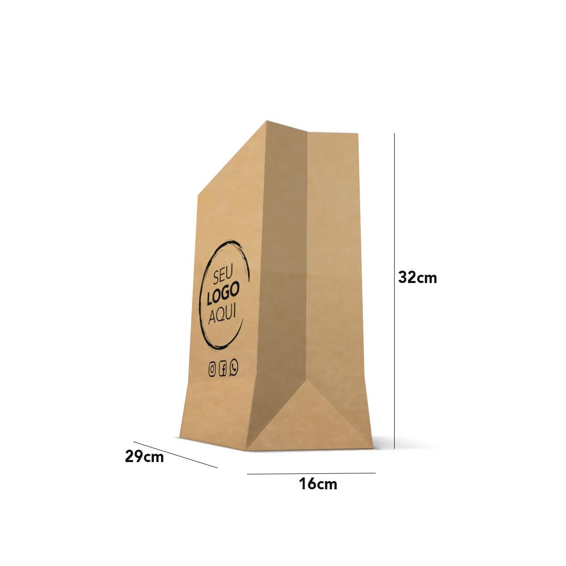 Saco Kraft  Personalizado Tamanho Delivery (29 x 32 x 16)