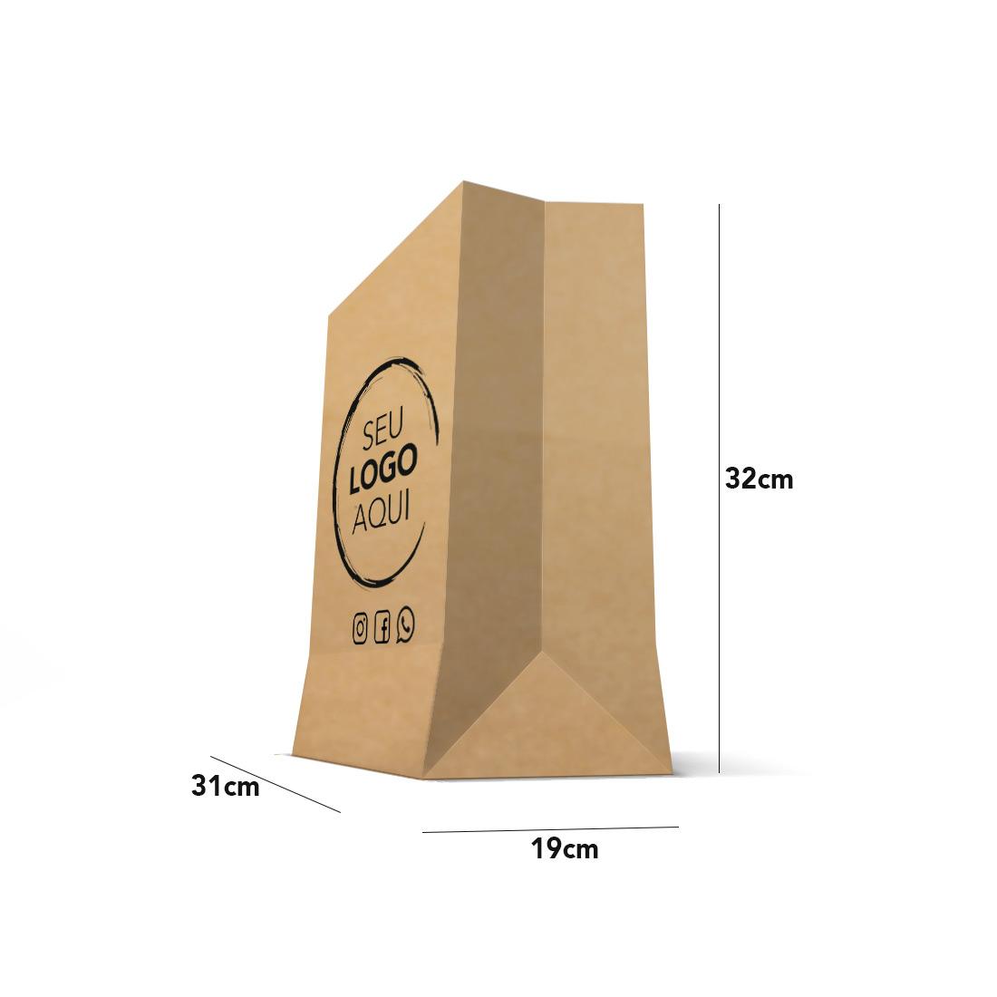 Saco Kraft Personalizado Tamanho Delivery Express (31 x 32 x 19)