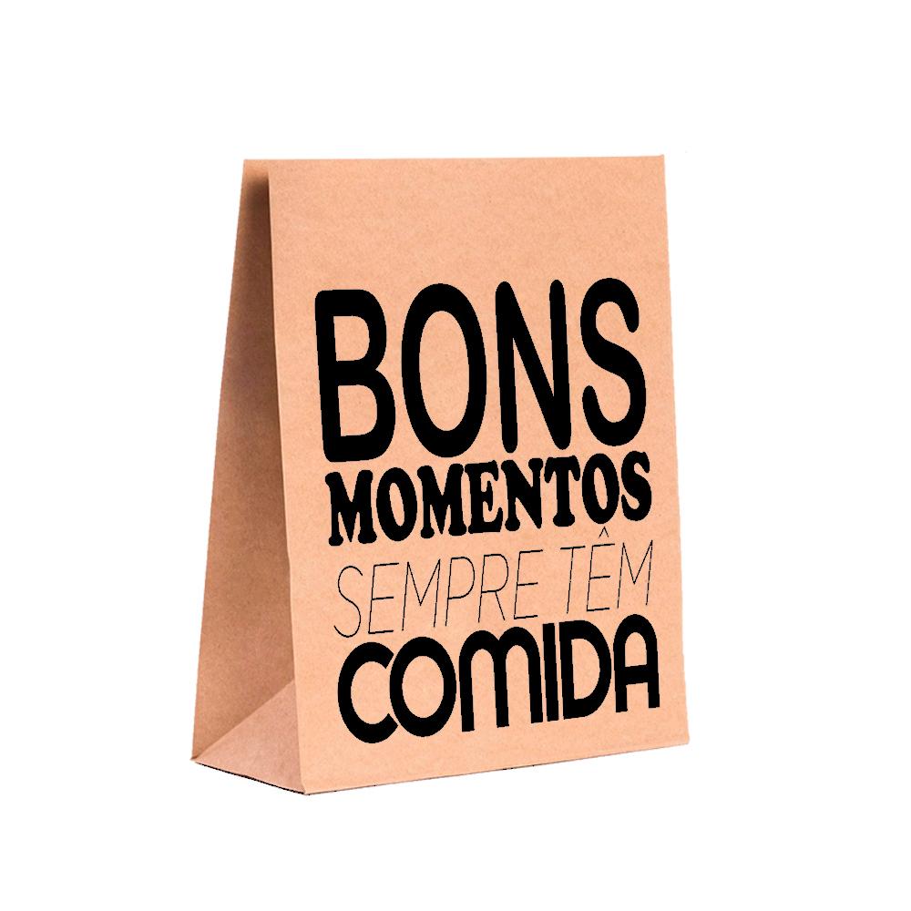 """Saco Paperbag """"Bons Momentos""""  Tamanho P (24 x 31 x 10)"""