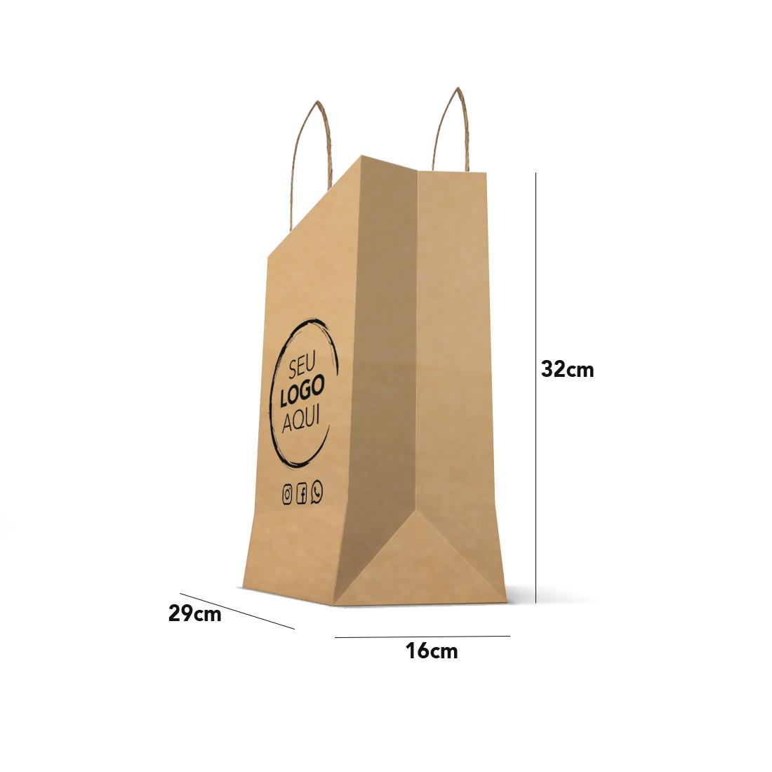 Sacola Kraft Personalizada Tamanho Delivery (29 x 32 x 16)