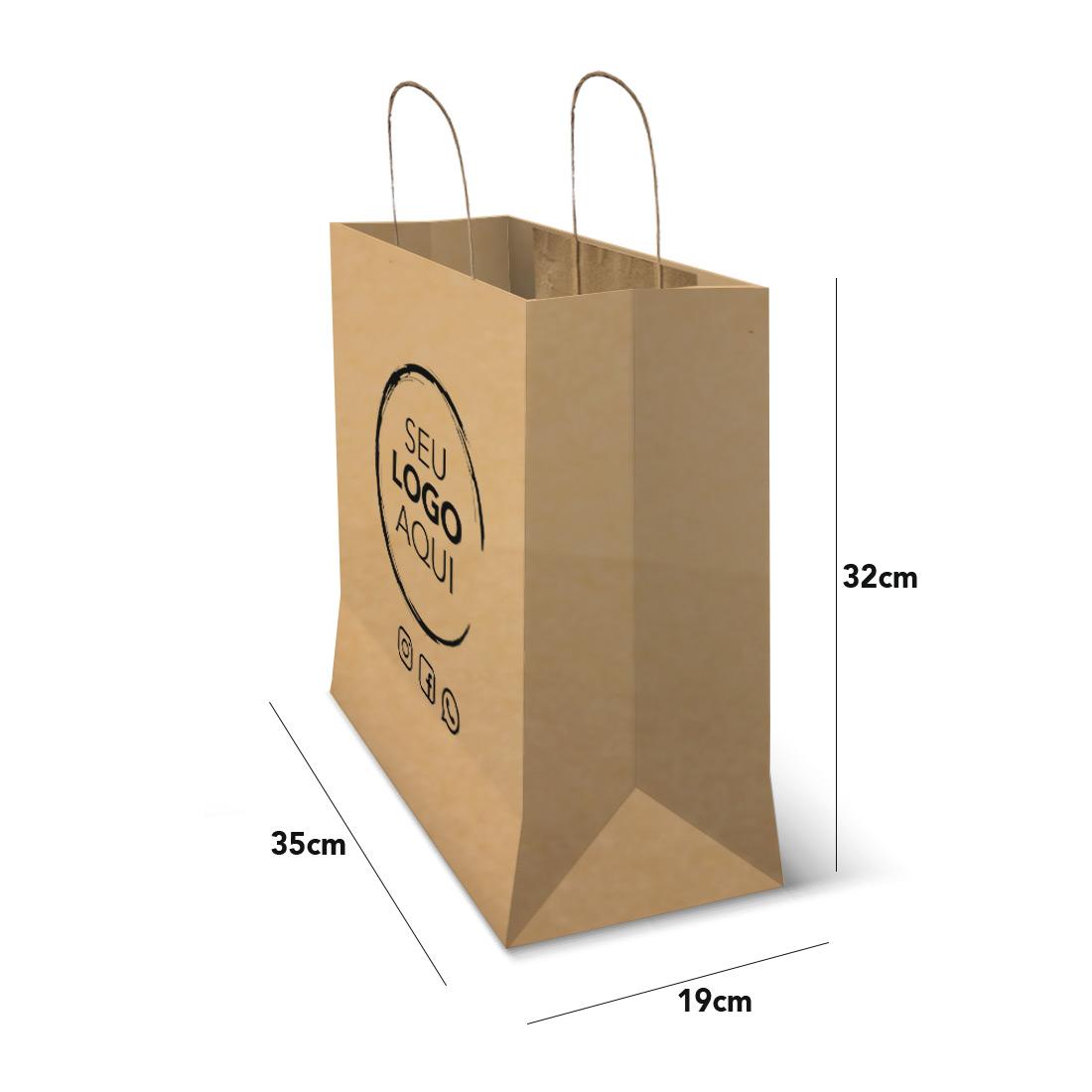 Sacola Kraft Personalizada Tamanho Delivery Plus (35 x 32 x 19)
