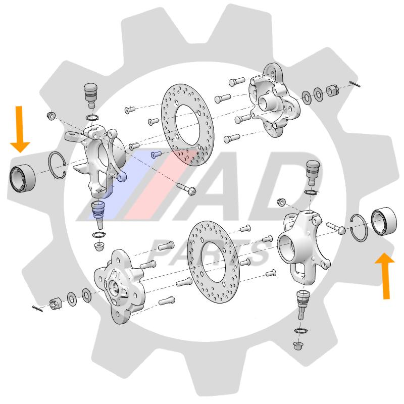 Rolamento de Roda Dianteira POLARIS Brutus 2013 até 2019