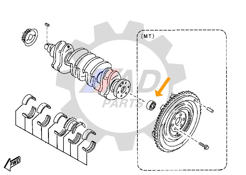 Rolamento Eixo Volante Motor KIA Sorento (3.5L) 2002 até 2006
