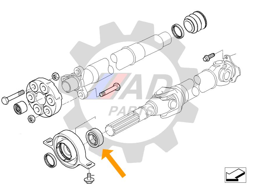 Rolamento Suporte Eixo Cardan BMW X1 de 2009 até 2015