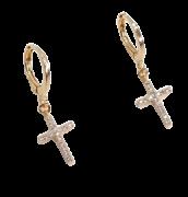 Brinco de argola com cruz cravejada zircônia