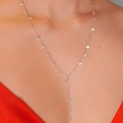 Colar Gravatinha ródio prata com pingos de cristais