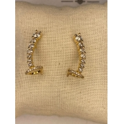 Ear hook dourado com cristais decrecentes