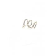 Piercing fake três arcos com pérolas ródio prata
