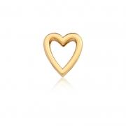 Pingente Esteira de Coração Vazado e Liso em Aço Dourado