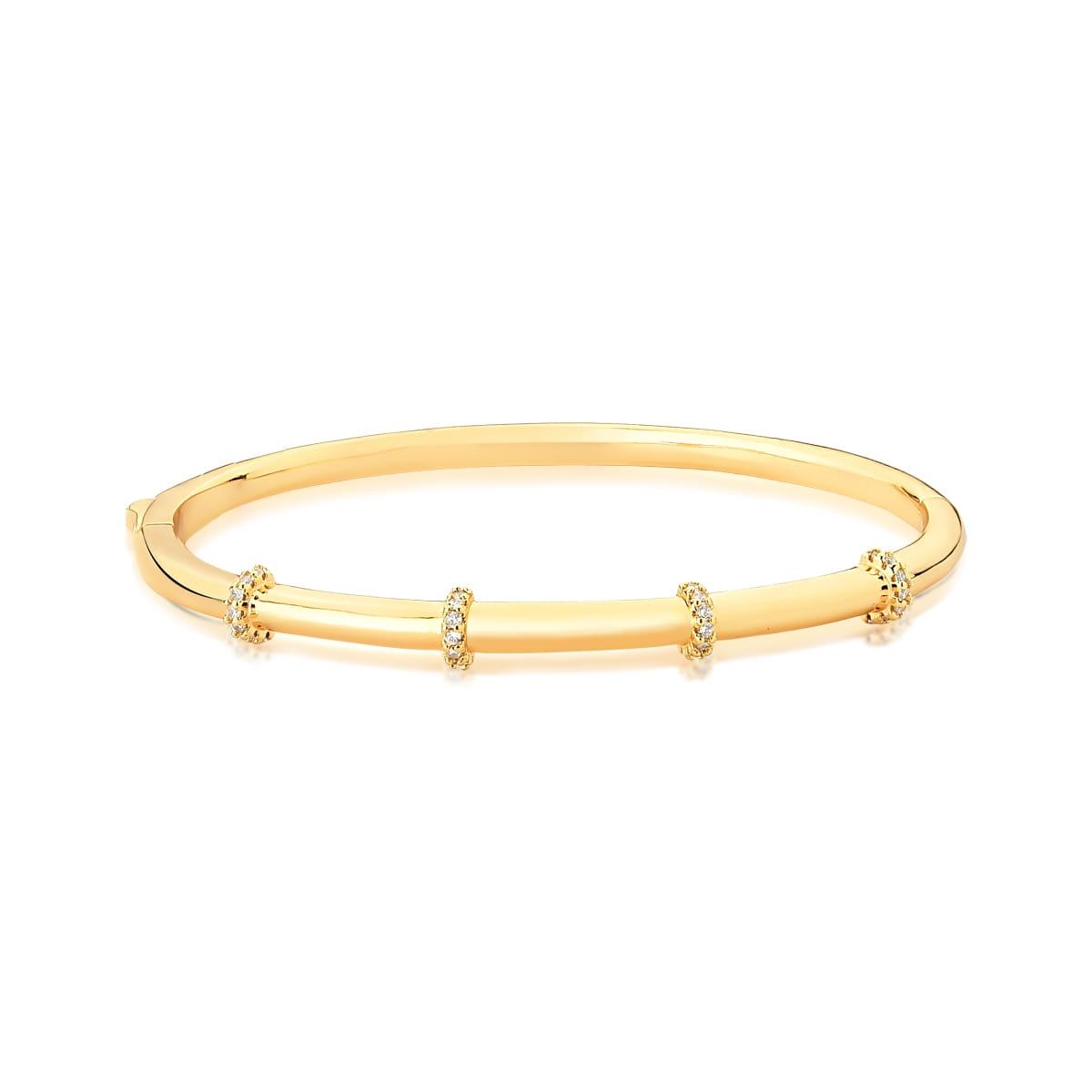 Bracelete Quatro Fileiras com Zircônias Banhado a Ouro
