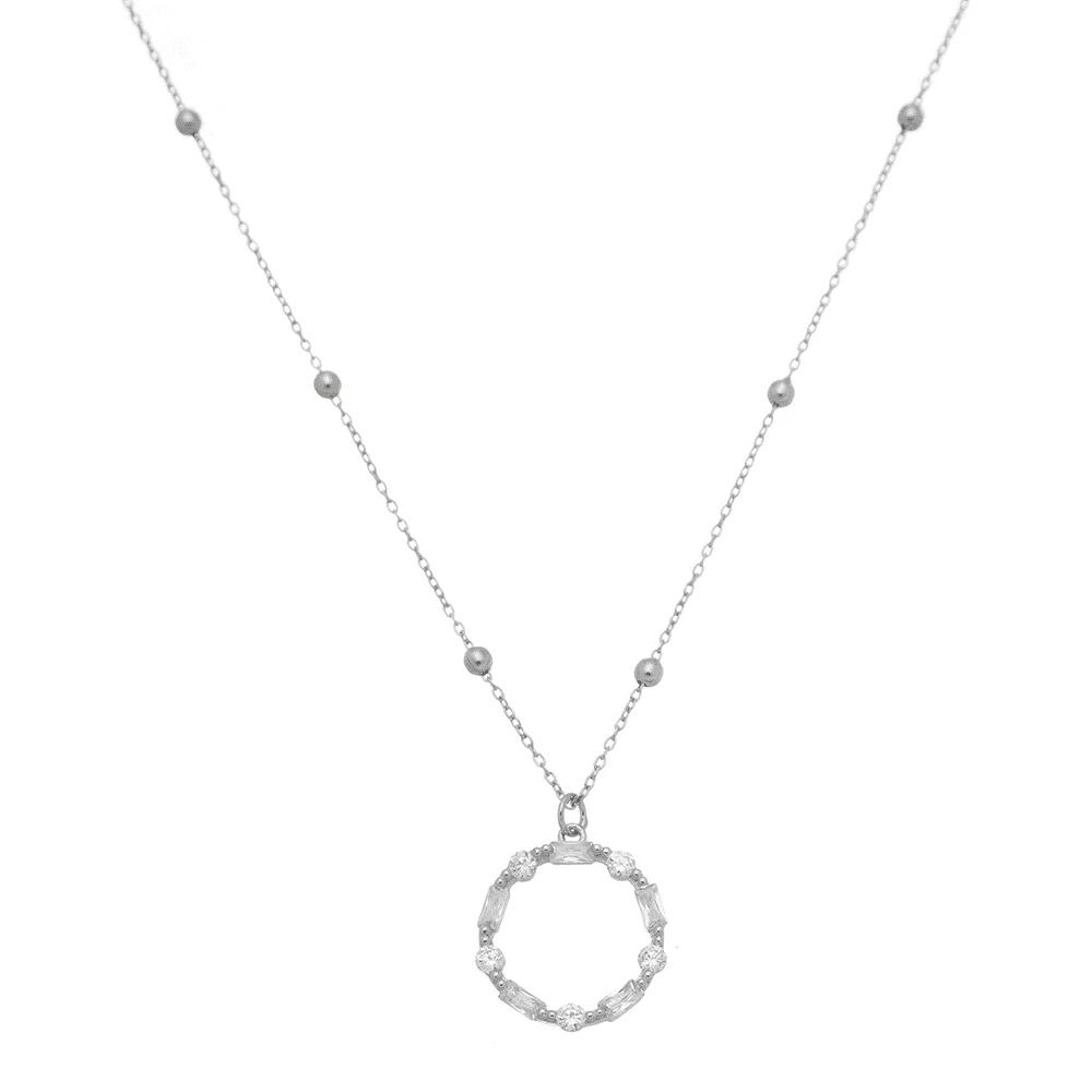 Choker de ródio prata com pingente aro de cristais