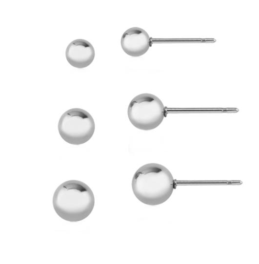 Kit Três Pares de Brincos Bolas Lisas Decrescentes em Aço