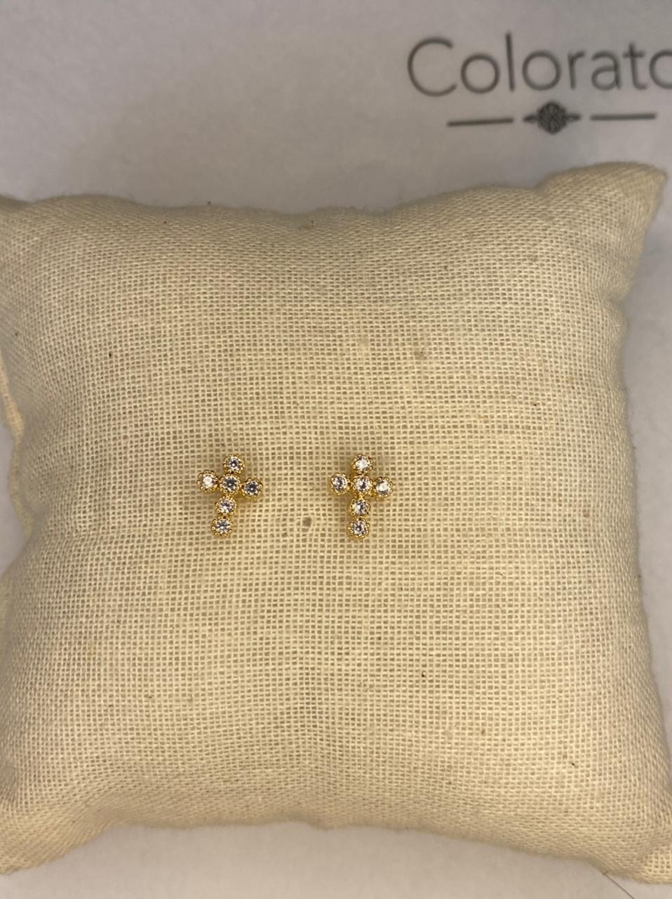 Mini brinco cruz com zircônias dourado