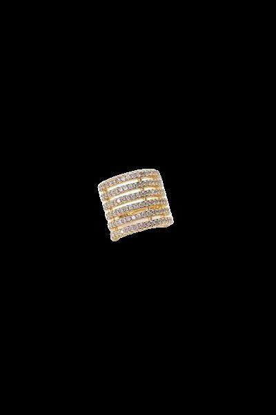 Piercing fake com fileiras cravejadas Banho Ouro