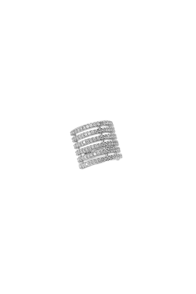 Piercing fake seis fileiras ródio prata com zircônias