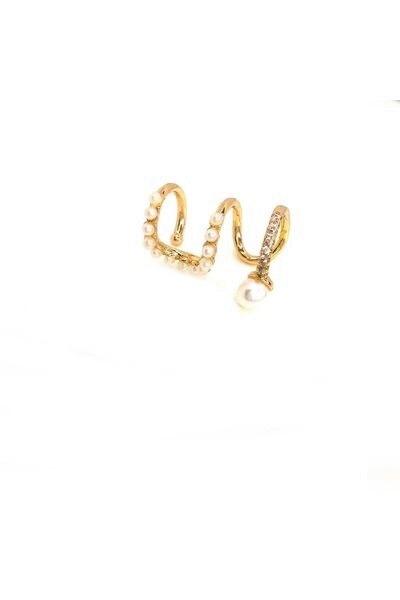 Piercing fake três arcos com pérola banhado a ouro