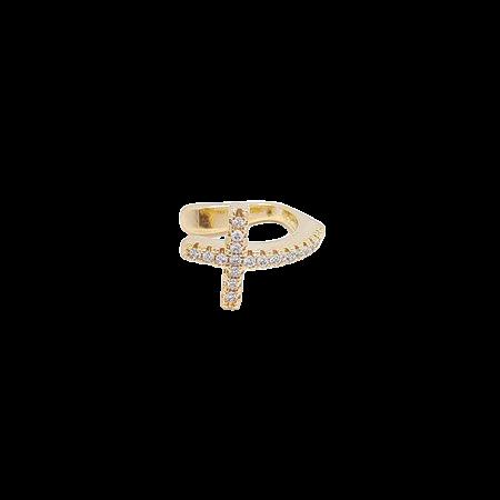 Piercing fake cruz cravejado banho Ouro