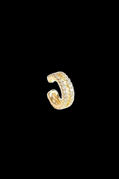 Piercing fake duplo cristais banhado a ouro