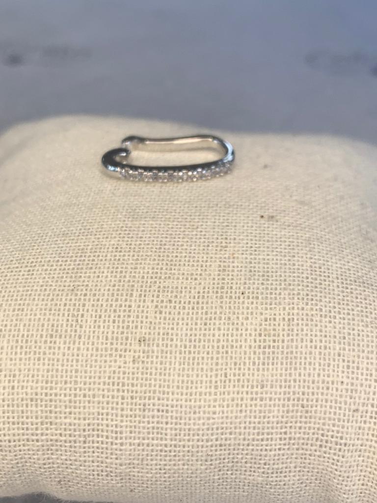Piercing fake meia lua ródio prata