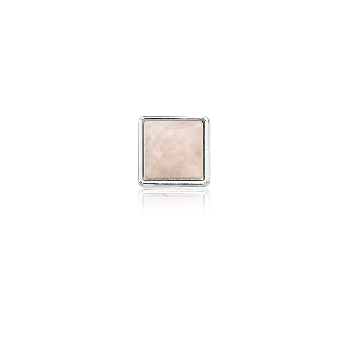 Pingente Esteira com Cristal Quadrado Rosa Folheado a Ródio