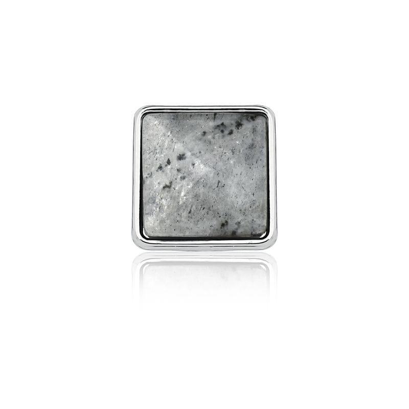 Pingente Esteira Cristal Quartzo Rutilado Cinza Folheado a Ródio