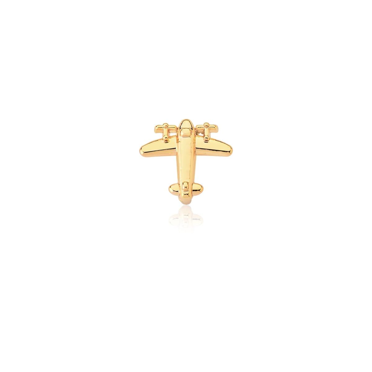 Pingente Esteira de Avião Liso em Aço Dourado
