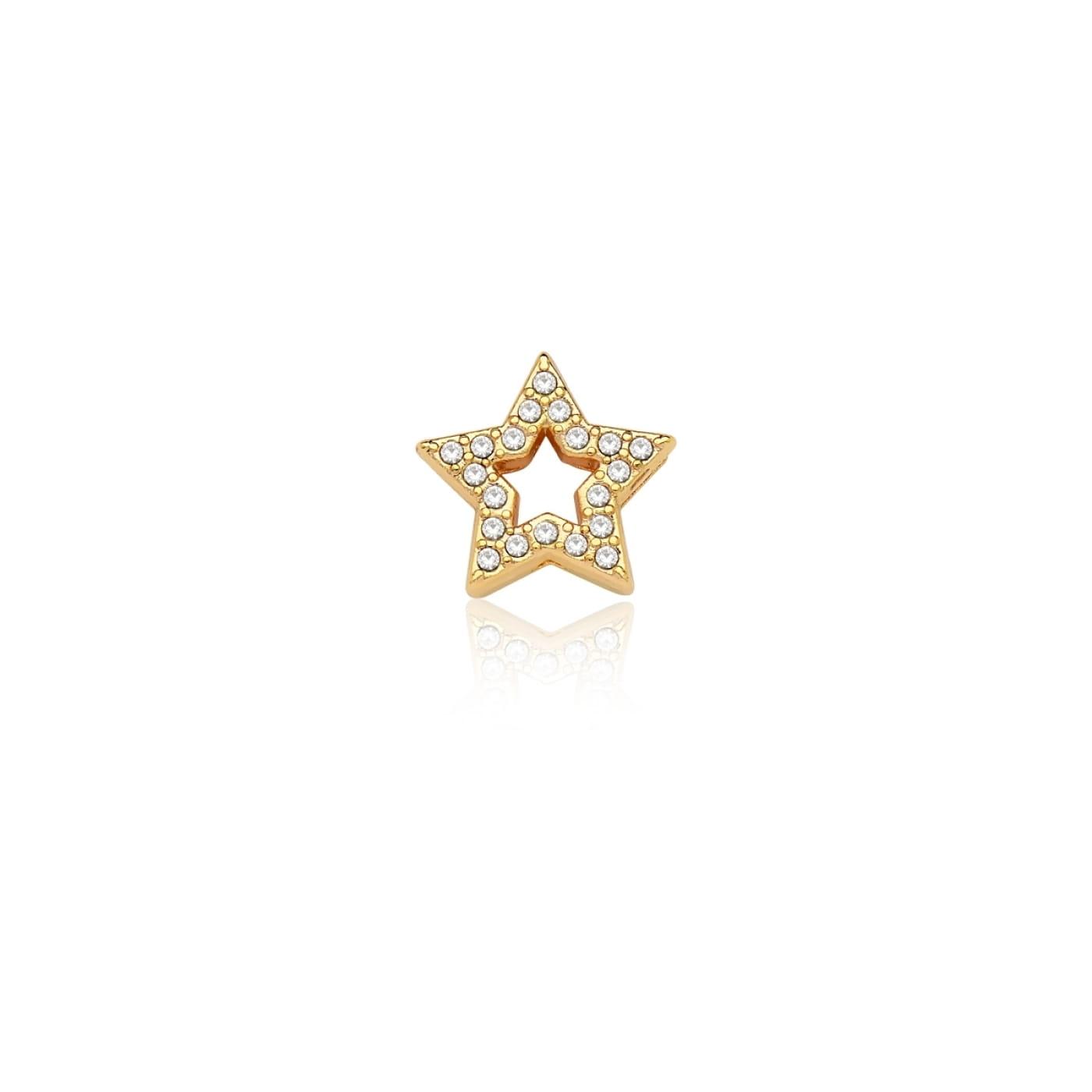 Pingente Esteira de Estrela Vazada com Strass em Aço Dourado
