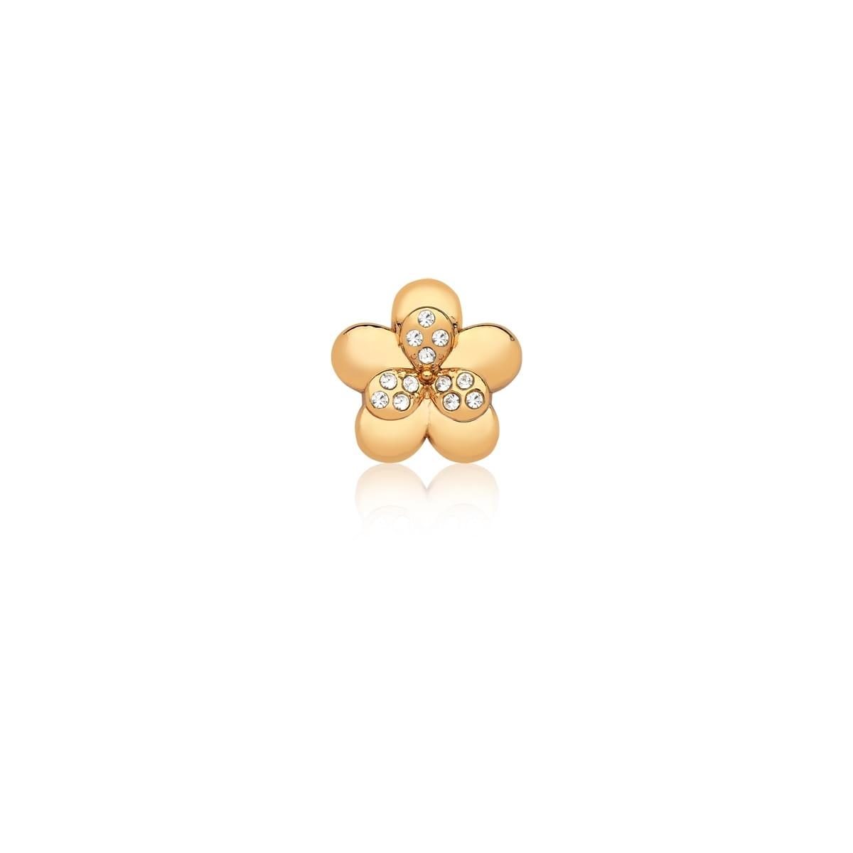 Pingente Esteira de Flor com Strass Branco em Aço Dourado
