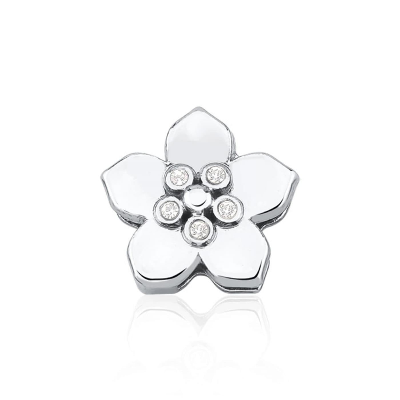 Pingente Esteira de Flor Lisa com Strass Branco em Aço